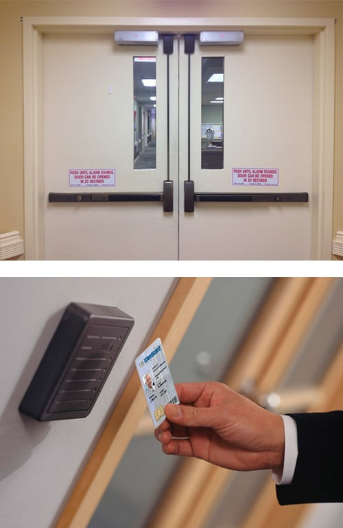 image of commercial doors with crash bars and automatic door closers (top), and a key-card reader outside an office door (bottom)