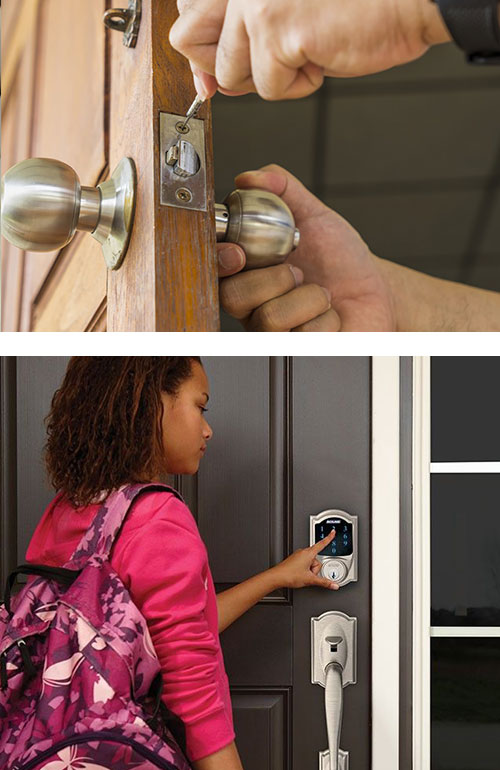 image of a lock being repaired (top) and a Schlage smart lock on a residential front door (bottom)